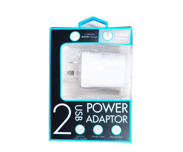 2 USB Ports AC Adapter(2.1A) + Lightning Cable/